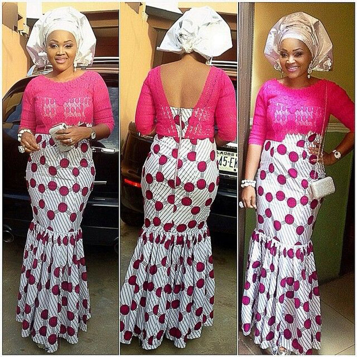 plain and pattern ankara gown (4)