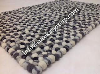 handmade wool felt balls rug manufacturers