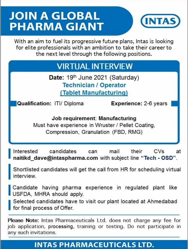 Intas Pharma | Virtual interview for Tablet Manufacturing on 19th Jun 2021