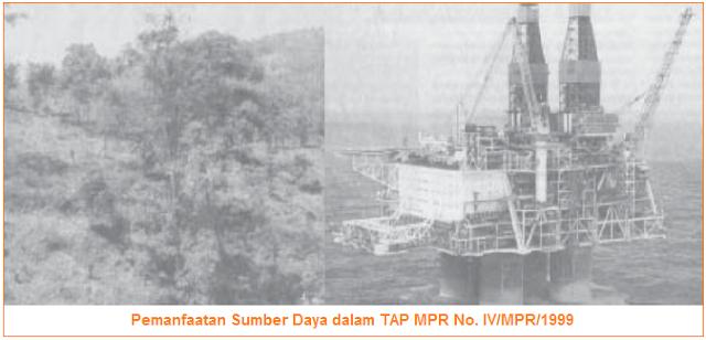 Pemanfaatan Sumber Daya dalam TAP MPR No. IV/MPR/1999
