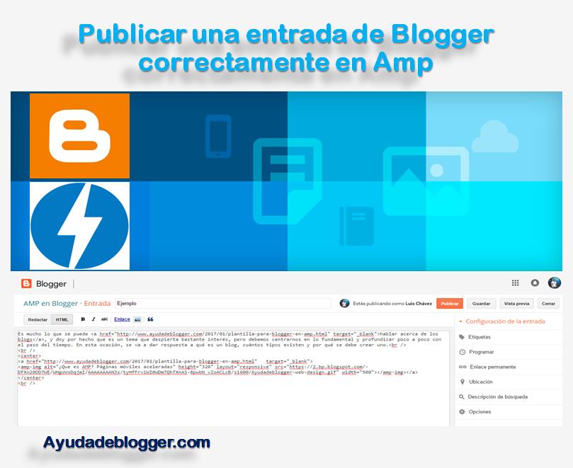 Publicar una entrada de Blogger correctamente en Amp
