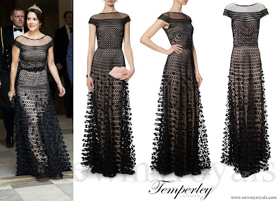 Crown princess Mary wore Temperley London Black Textured Long Trellis Gown