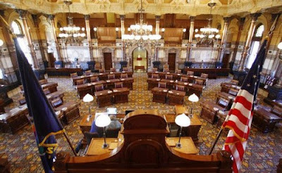 The Senate chambers in the Kansas Statehouse.