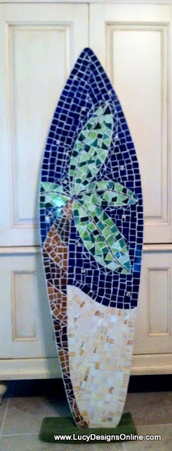 palm tree mosaic large surfboard art