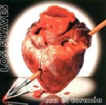 Portada de un disco de Los suaves, en la que se ve un corazón atravesado por una lanza