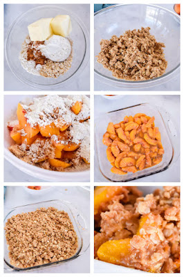 step by step images showing how to make peach crisp