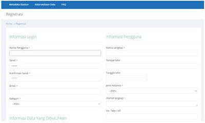 Form registrasi data iklim online
