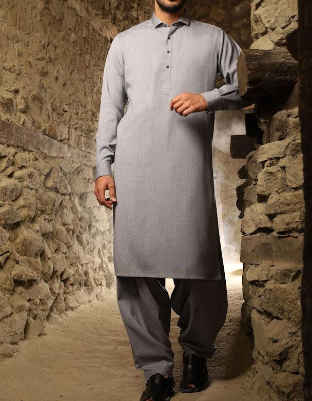 J. Junaid Jamshed winter Light grey suit