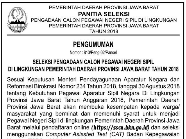 Formasi, Jadwal, dan Lokasi Tes Seleksi CPNS Pemprov Jabar 2018
