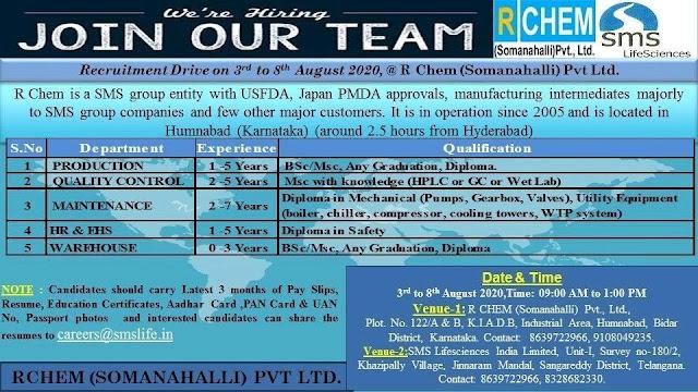 SMS Pharma (RChem) | Walk-ins at Hyderabad & Bidar on 3 to 8 Aug 2020