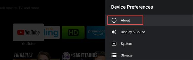 تلفزيون android حول الإعدادات