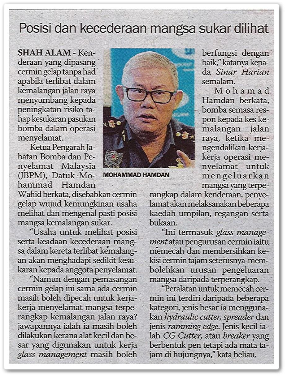 Posisi dan kecederaan mangsa sukar dilihat - Keratan akhbar Sinar Harian 9 Mei 2019