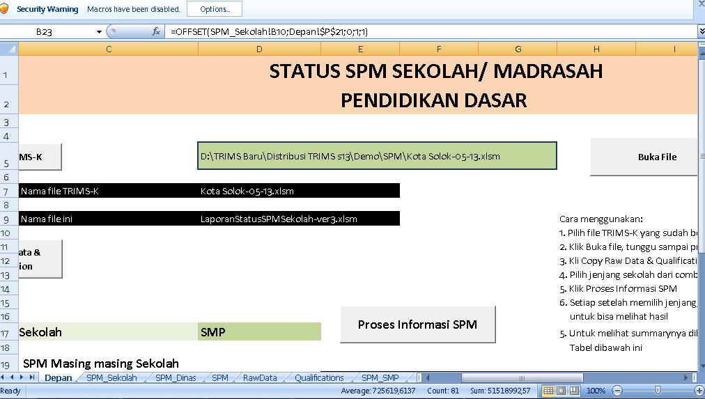 Download Aplikasi Manual Sistem Informasi Manajemen Pendidikan (SIMP) Terbaru 2016-2017 Format Microsoft Exel