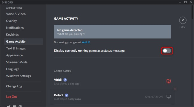 game activity discord