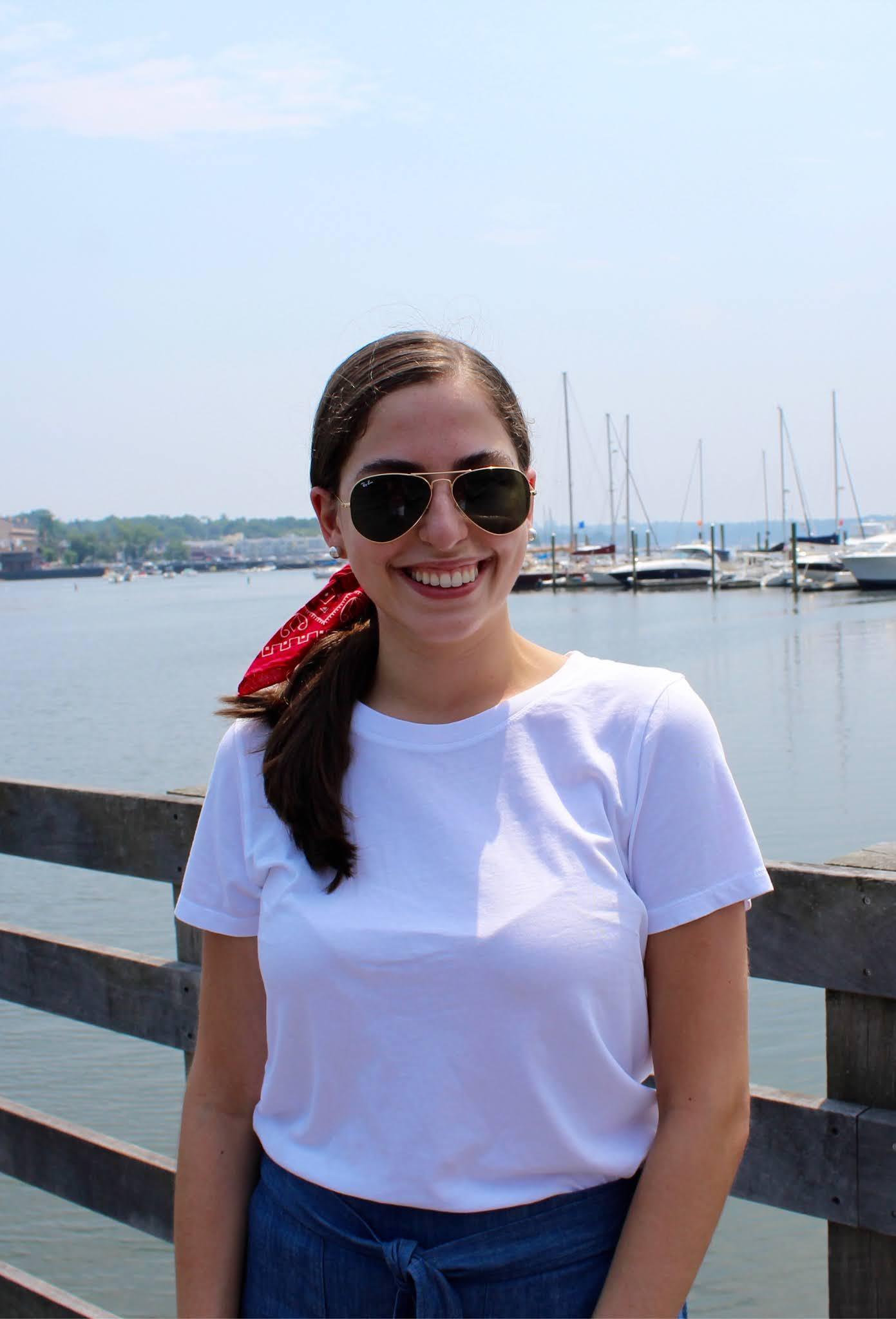 white t-shirt, bandana, water, long island summer