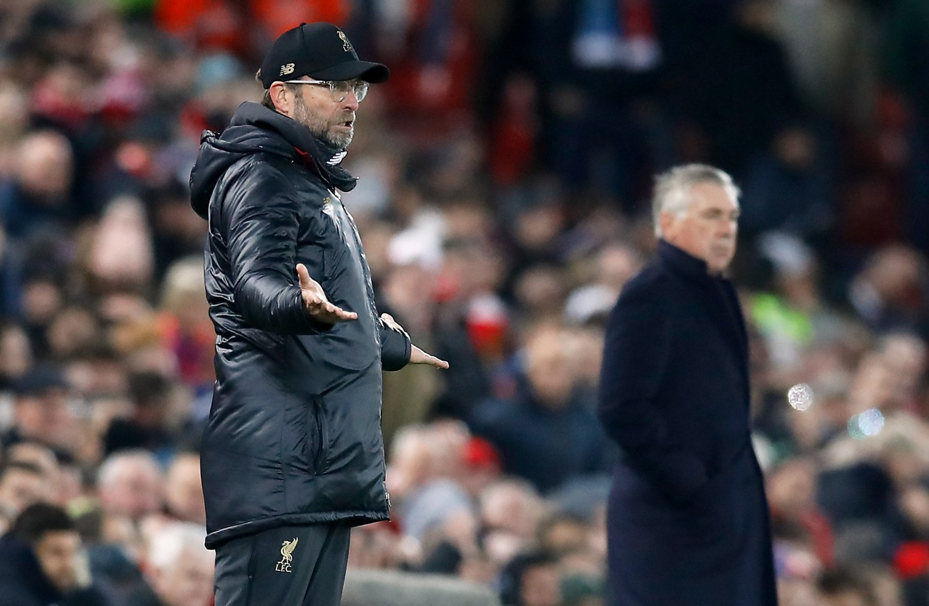 Jurgen Klopp and Carlo Ancelotti do battle at Goodison Park this Saturday