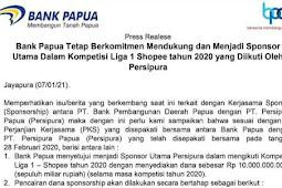Bank Papua Tetap Sponsori Persipura di Liga 1 Shopee