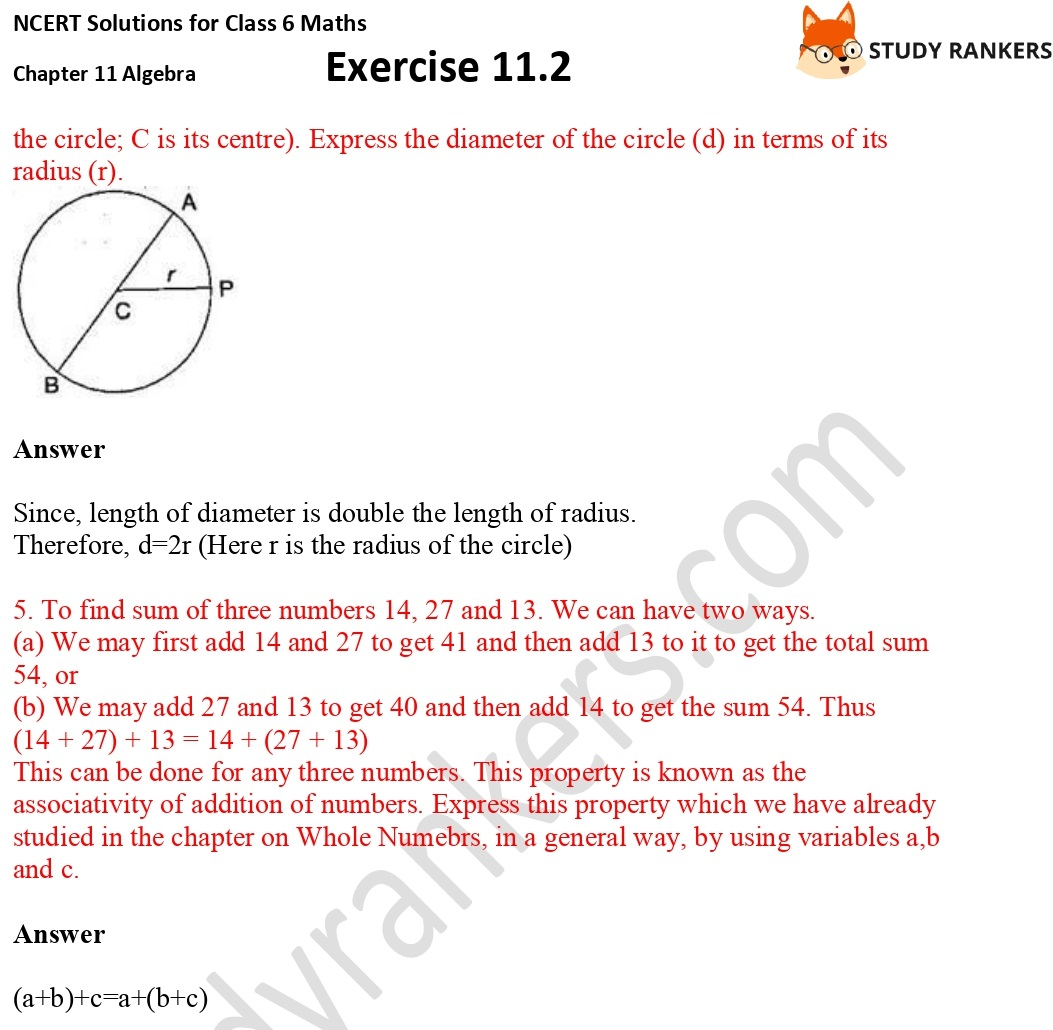 NCERT Solutions for Class 6 Maths Chapter 11 Algebra Exercise 11.2 Part 2