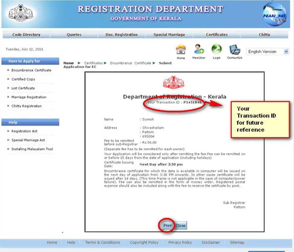 Transaction ID for Encumbrance Certificate
