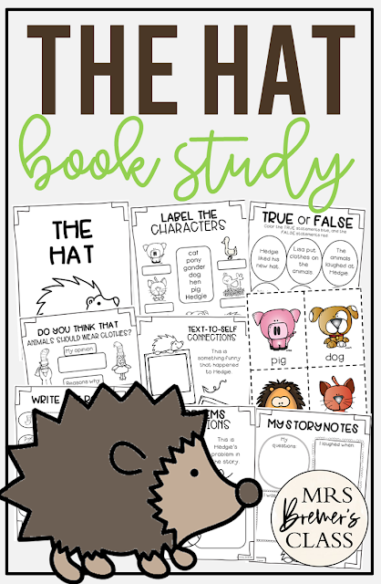 The Hat Jan Brett book study activities unit with Common Core aligned literacy companion activities and a craftivity for Kindergarten and First Grade
