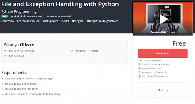 [100% Free] File and Exception Handling with Python