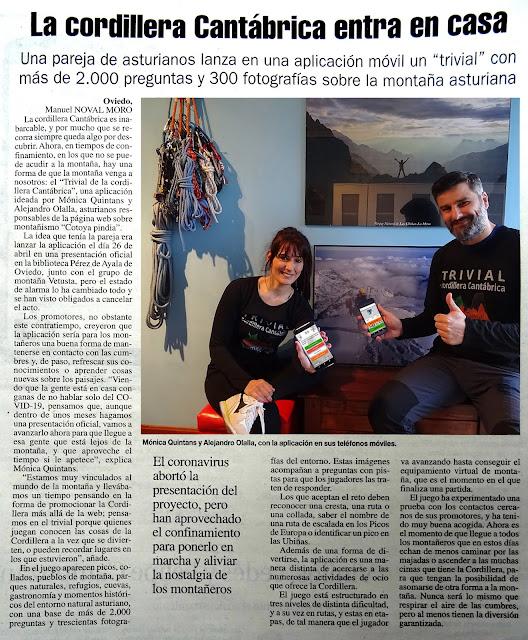 Artículo del Trivial Cordillera Cantábrica de Cotoya Pindia en el periódico La Nueva España