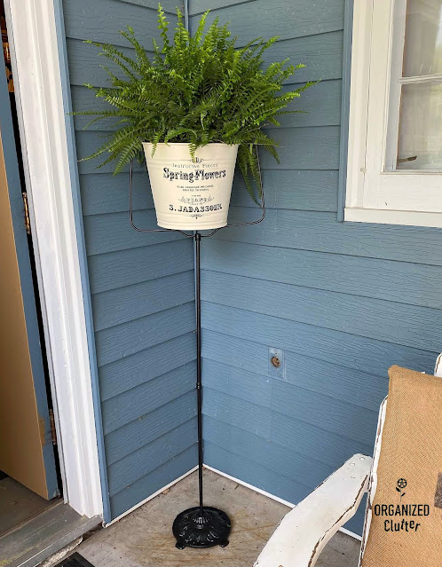 Photo of a birdcage stand repurposed as a plant stand