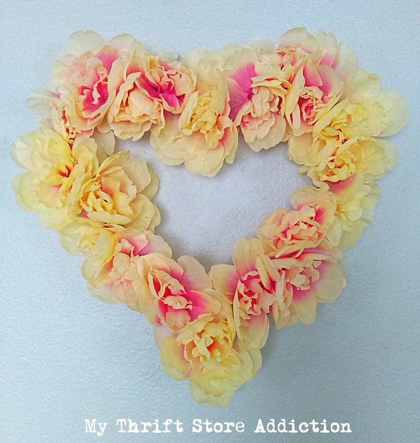 dollar store peony heart wreath