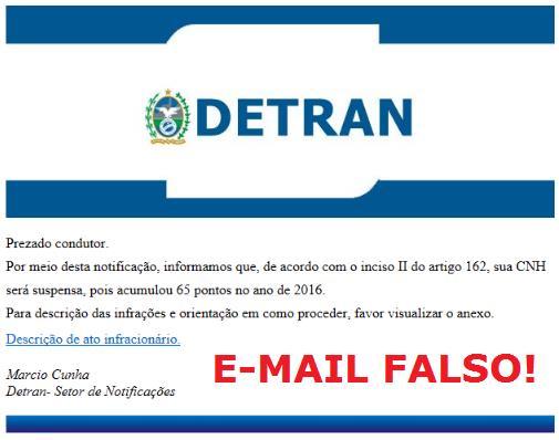 Detran Pernambuco alerta condutores sobre E-mail falso.