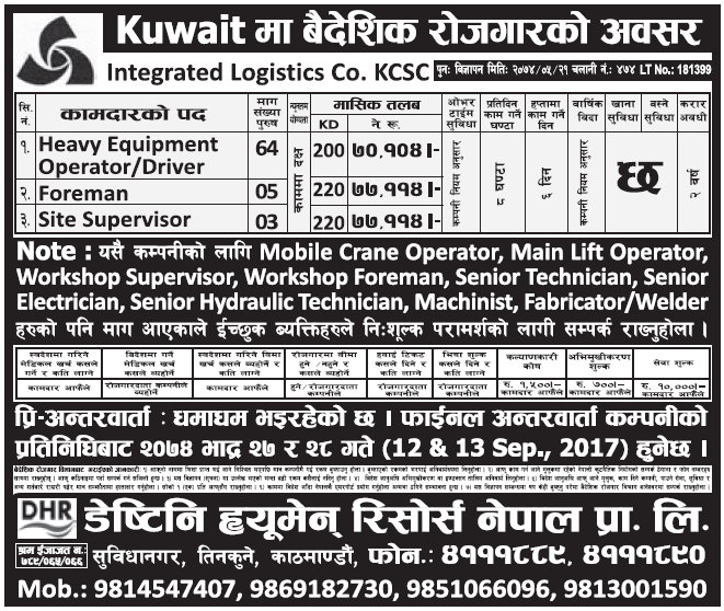 Jobs in Kuwait for Nepali, Salary Rs 77,114
