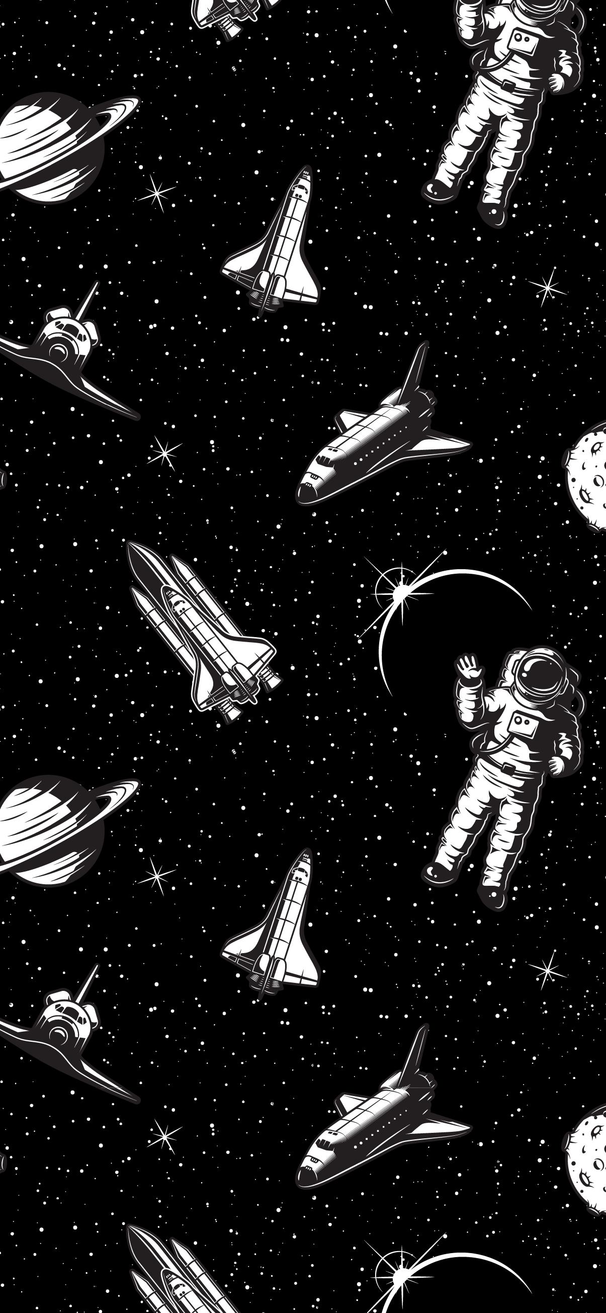 ATRONAUT SATURN SPACESHIP AMOLED BLACK OLED PATTERN SPACE