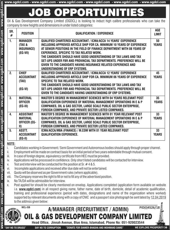 Advertisement for OGDCL Jobs March 2019