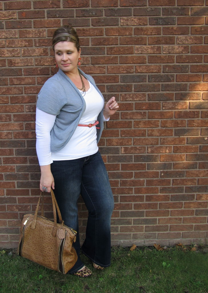 0d9b8a99d62 Grey cardiwrap - Maurices   White long sleeve tee - LOFT   Dark flare jeans  - Lane Bryant   Leopard print flats - Target   Handbag - Furla (renting  from ...