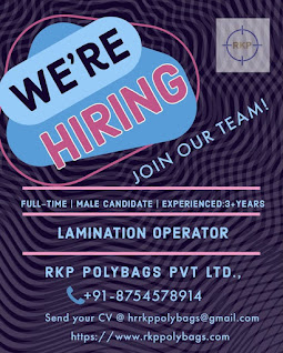 RKP Polybags Pvt Ltd Hiring for Lamination Operator Qualification ITI / Diploma, Salary Rs.20,000/- to Rs.25,000/-