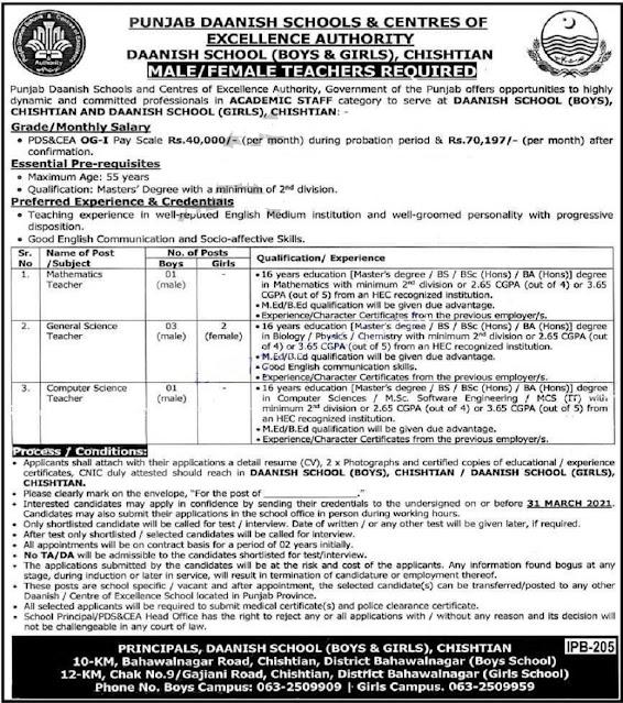 Punjab Daanish Schools And Centers Jobs 2021