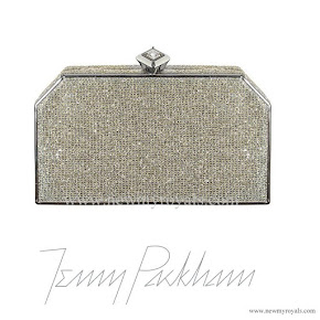 Kate Middleton carried Jenny Packham Casa Silver Gold Crystal clutch