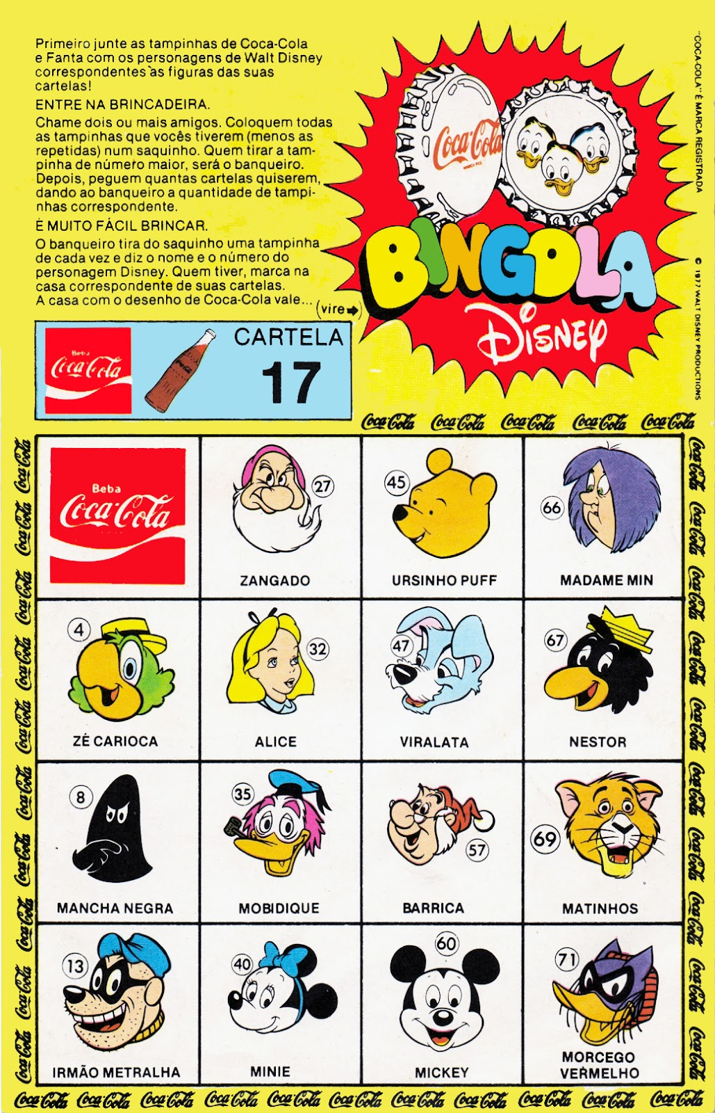 Colabingo: Coca-Cola Bingola Disney 1977