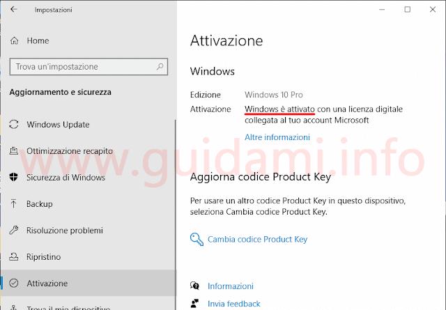 Vedere se Windows 10 è attivato da Impostazioni