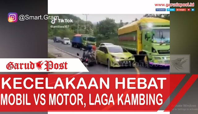 Video : Tidak Sabar Lewati Truk Mobil Ini Laga Kambing Dengan Pengadara Motor