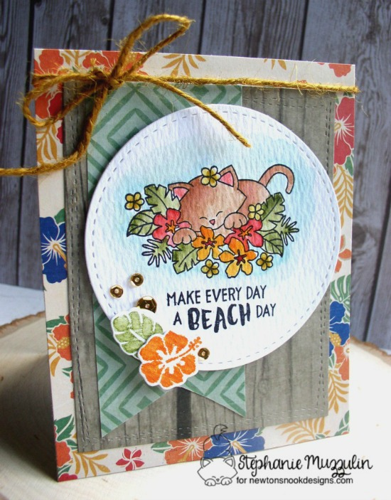 Summer watercolor Kitty with Hibiscus card by Stephanie Muzzulin | Aloha Newton stamp set by Newton's Nook Deisgns