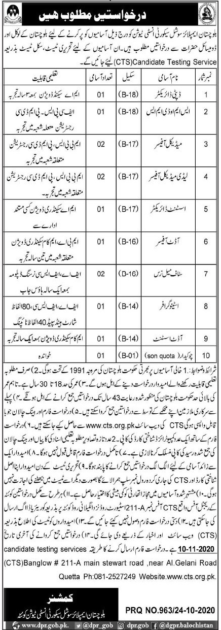 Employees Social Security Institution Balochistan Jobs in Pakistan - Download Job Application Form - www.cts.org.pk JObs 2021