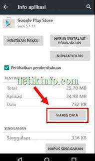 Hapus data play store