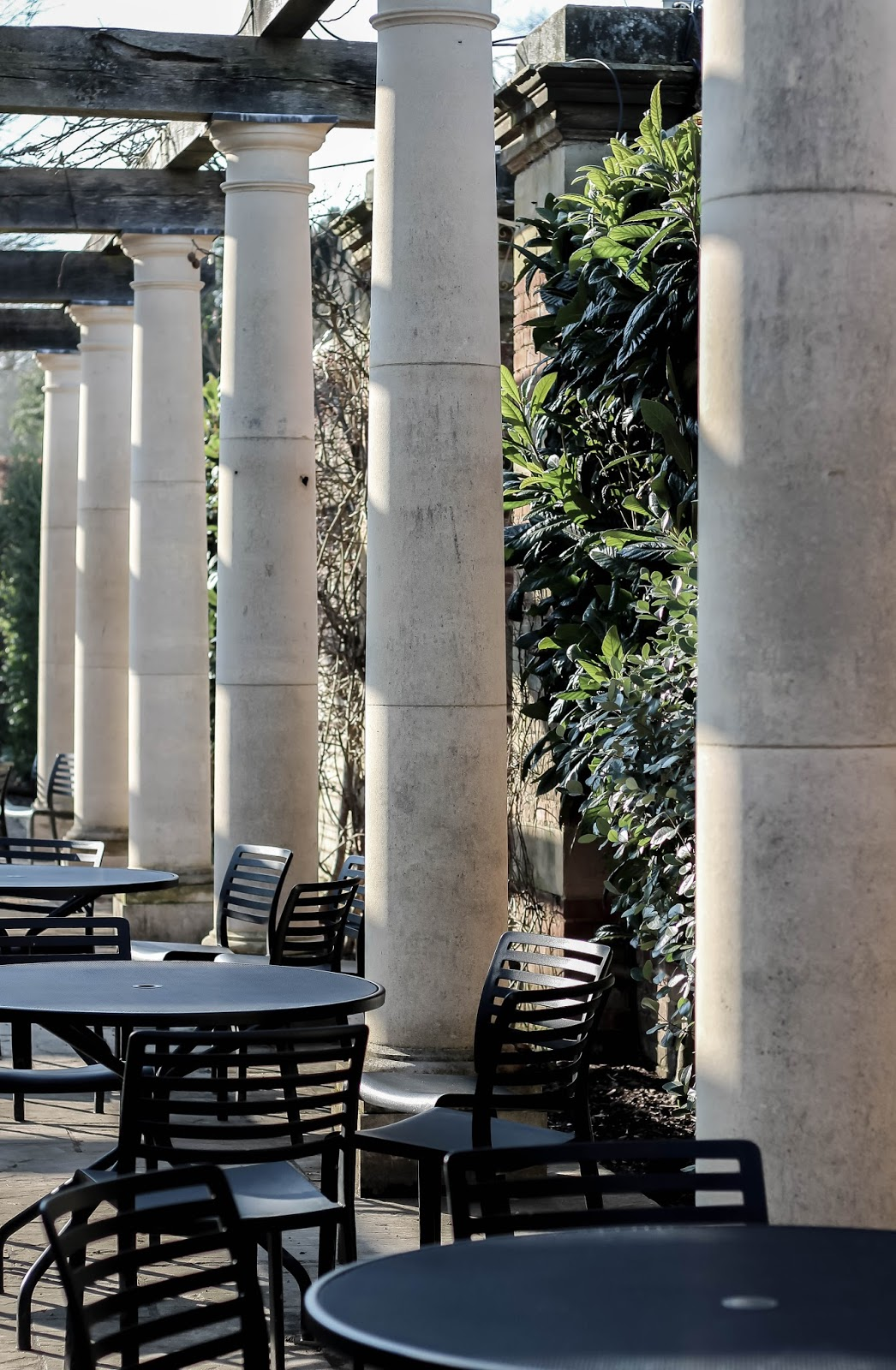 Cafe with Pillars and Italianate Architecture England