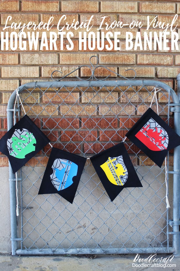 Make these layered iron-on vinyl bunting with the Hogwarts house crests as the perfect backdrop for a party or Harry Potter themed classroom. Worthy of the Great Hall at Hogwarts.