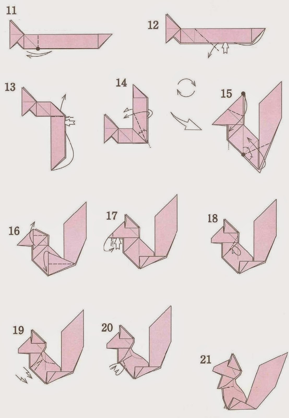 Origami Squirrel instructions ~ 3d origami for kids - photo#48