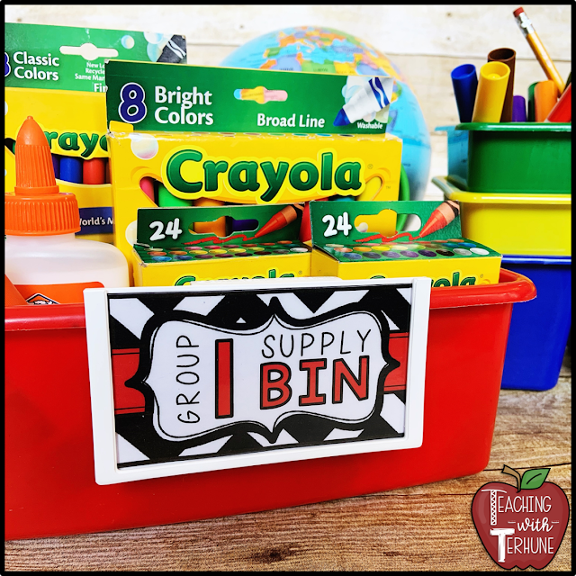 Labeled Classroom Caddy Suppy Bins