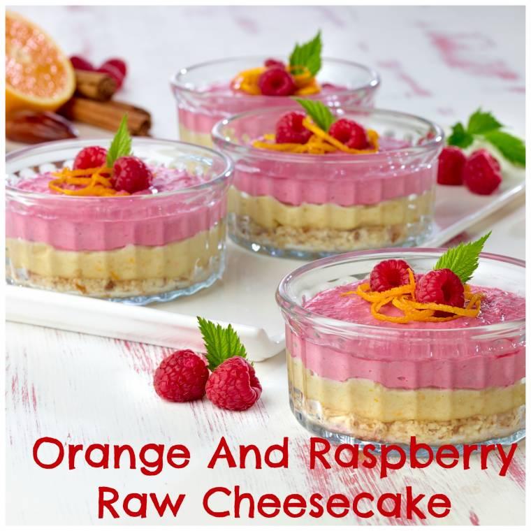 Orange And Raspberry Raw Cheesecake