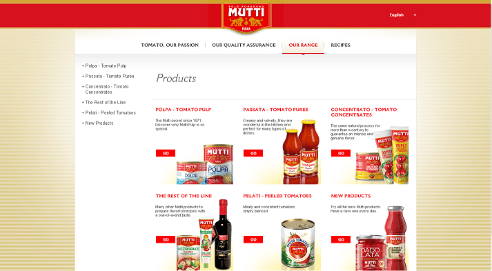 Picture to Italian food exporter company named Mutti Spa