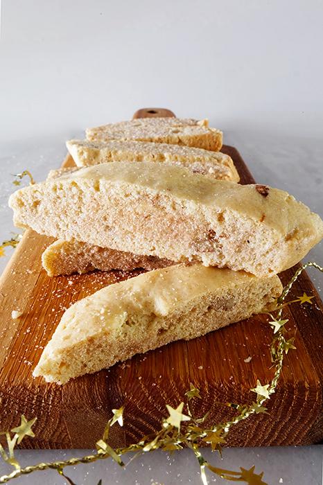 mandel bread on wood board