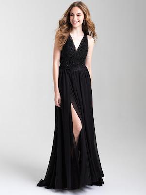 V-neck Madison James Prom Dress Black color